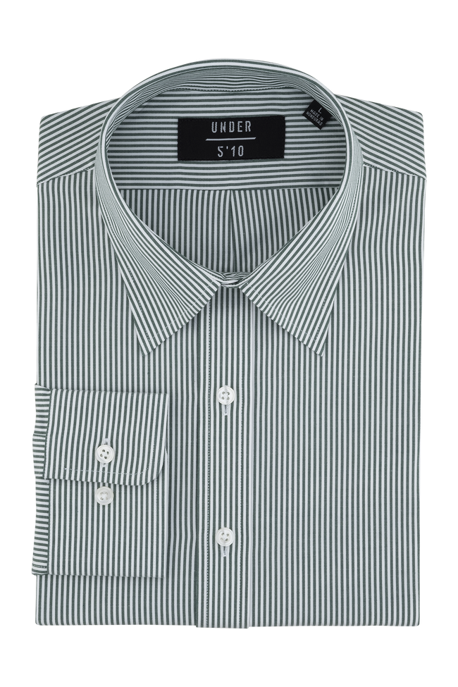 Green Striped Modern Oxford Shirt For Short Men and Men Under 5'10