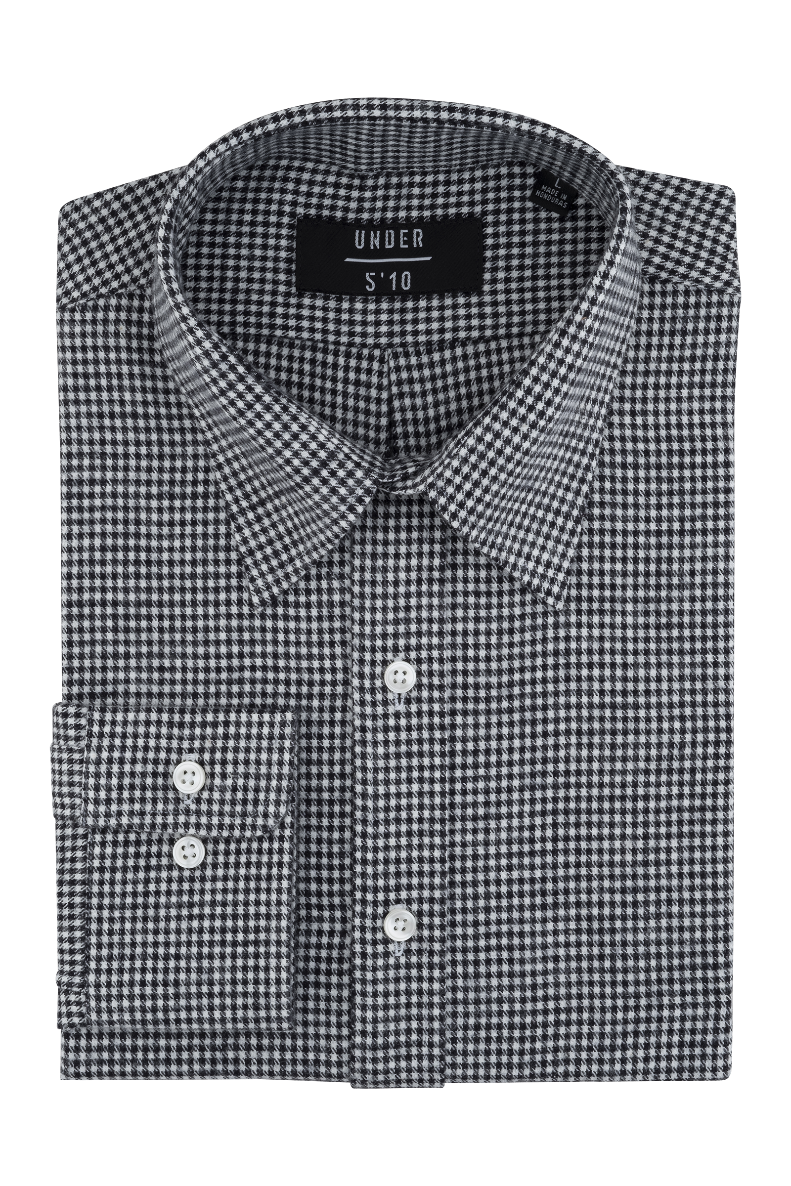 Black White Houndstooth Button Down Shirt