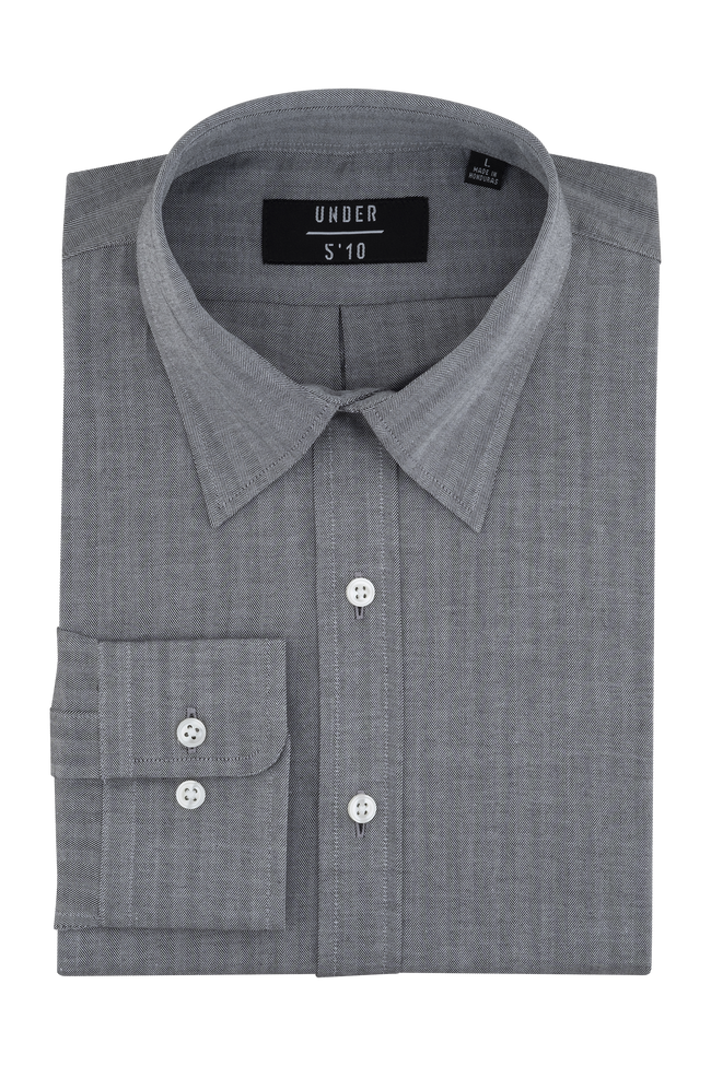 Gray Herringbone Button Down Shirt