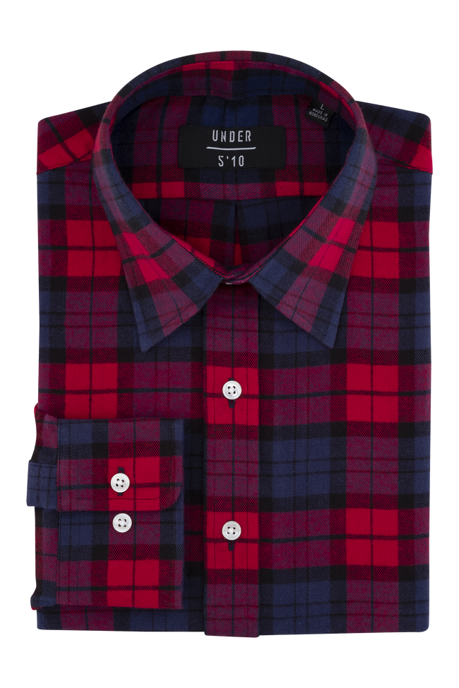 Red Buffalo Checker Flannel Shirt For Short Men and Men Under 5'10