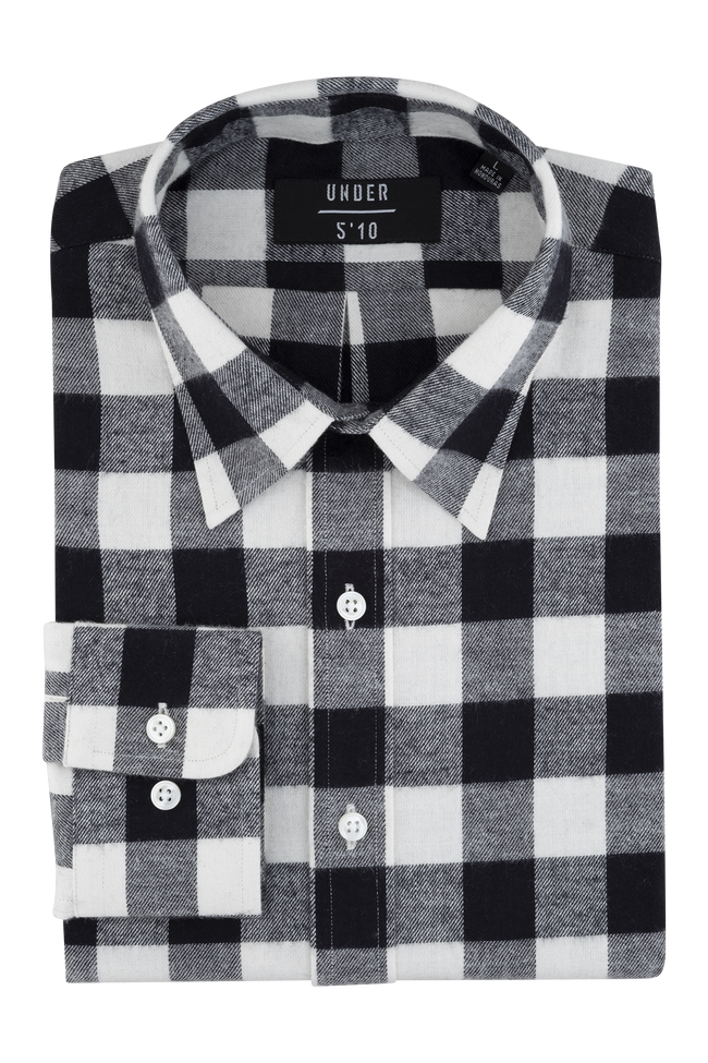 Black White Checker Flannel Button Down Shirt