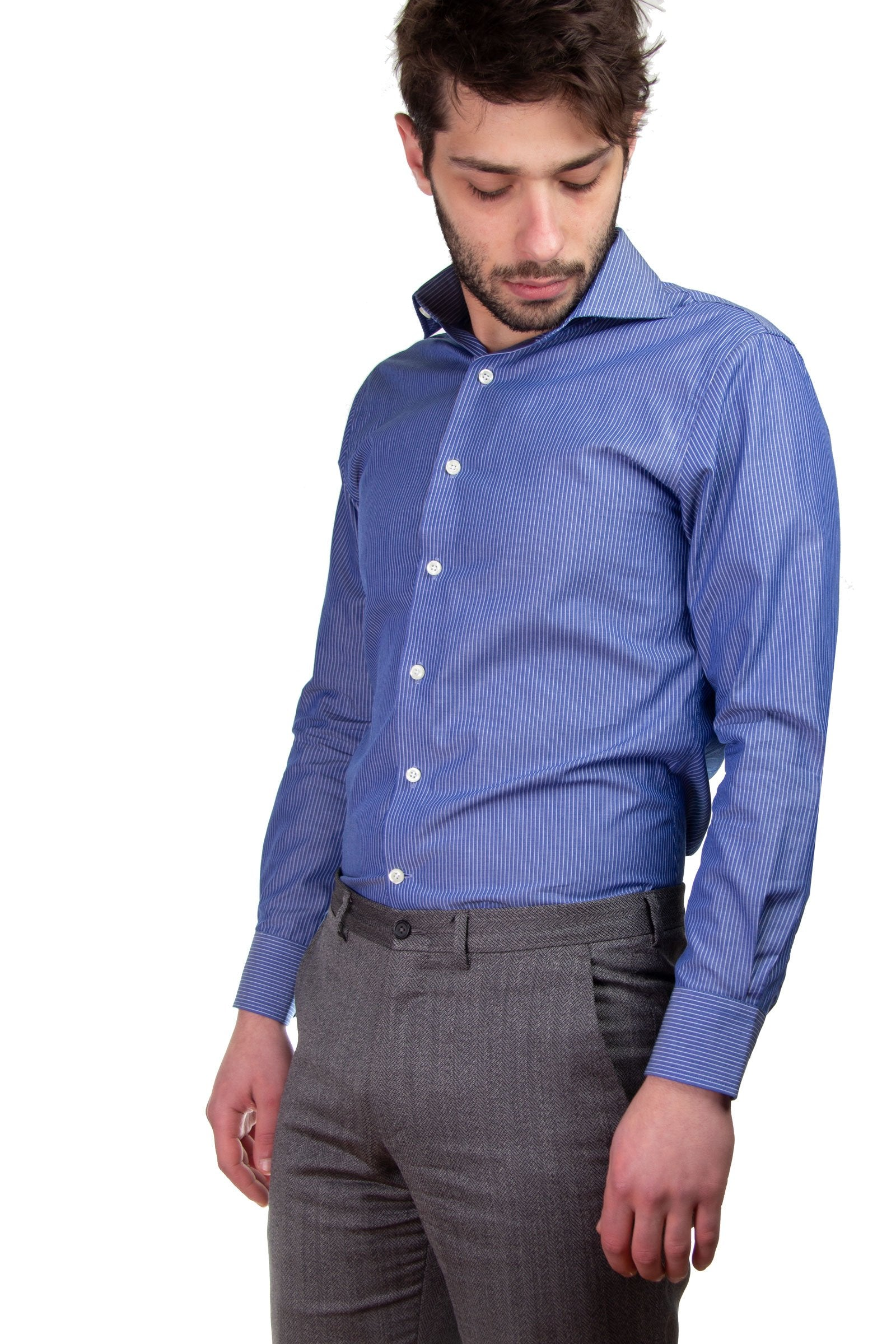Pinstripe Blue Dress Shirt