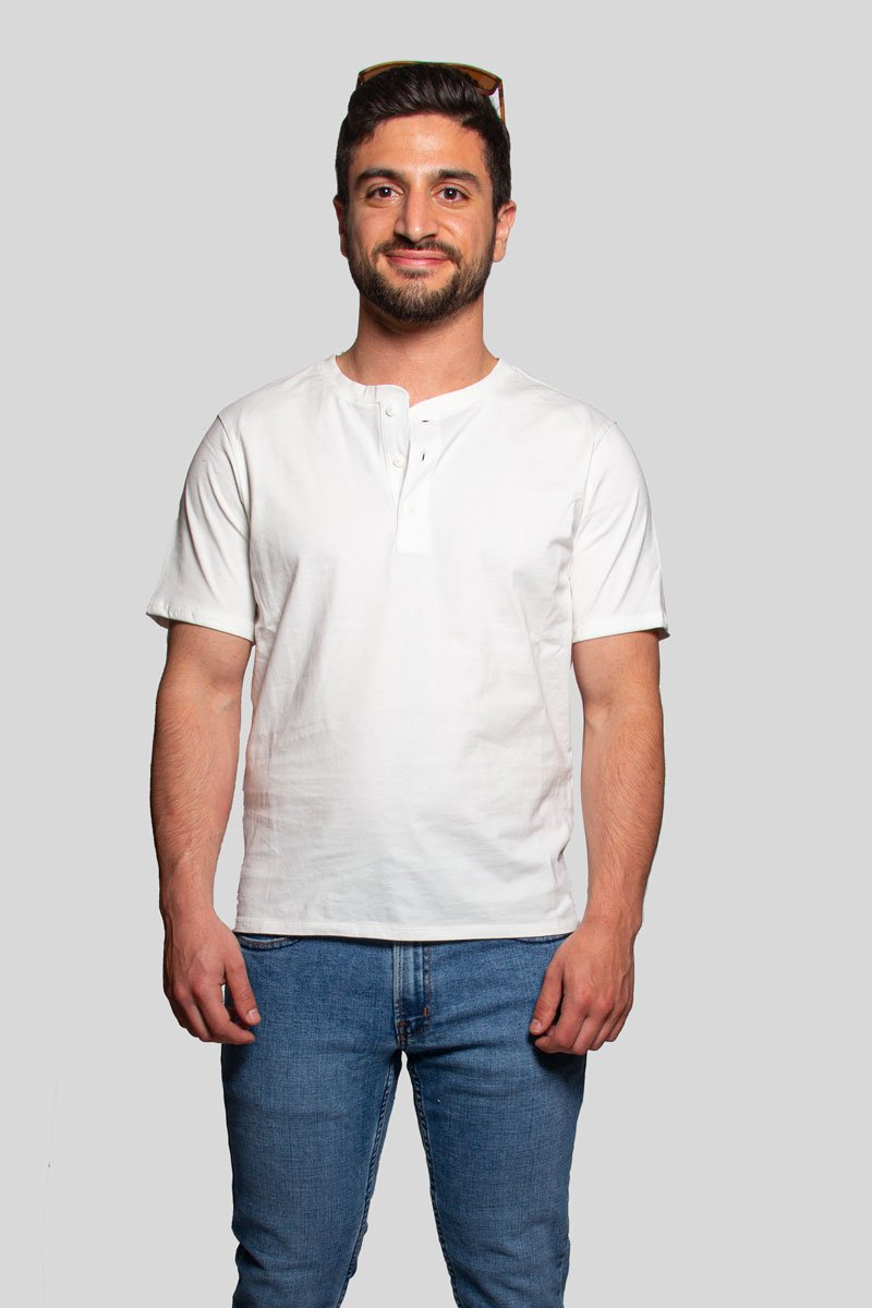 Henley White Short Sleeve Shirt Henley Under 5'10 XS