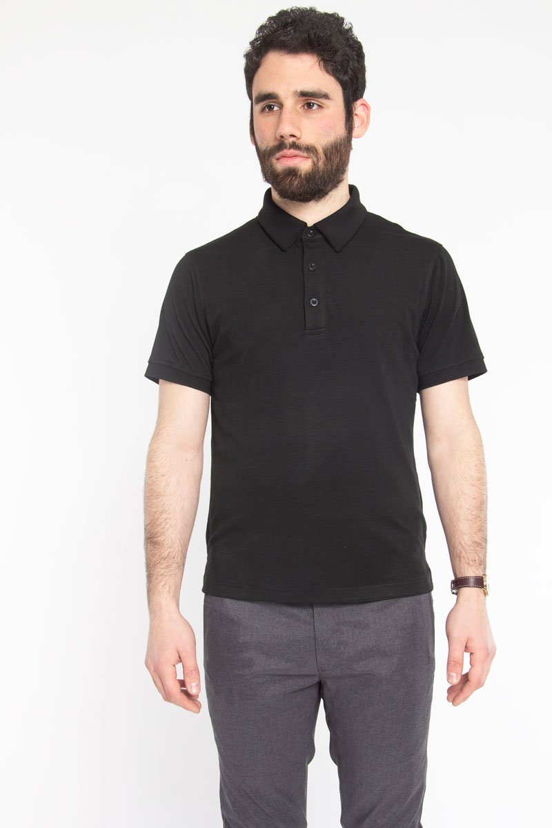 Ultra Soft Polo Black Polos Under 5'10 XS