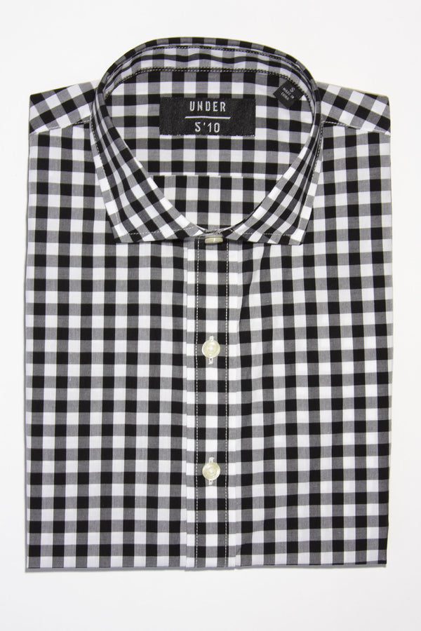 Button Down Shirt Black Check Casual Shirt Under 5'10 XS
