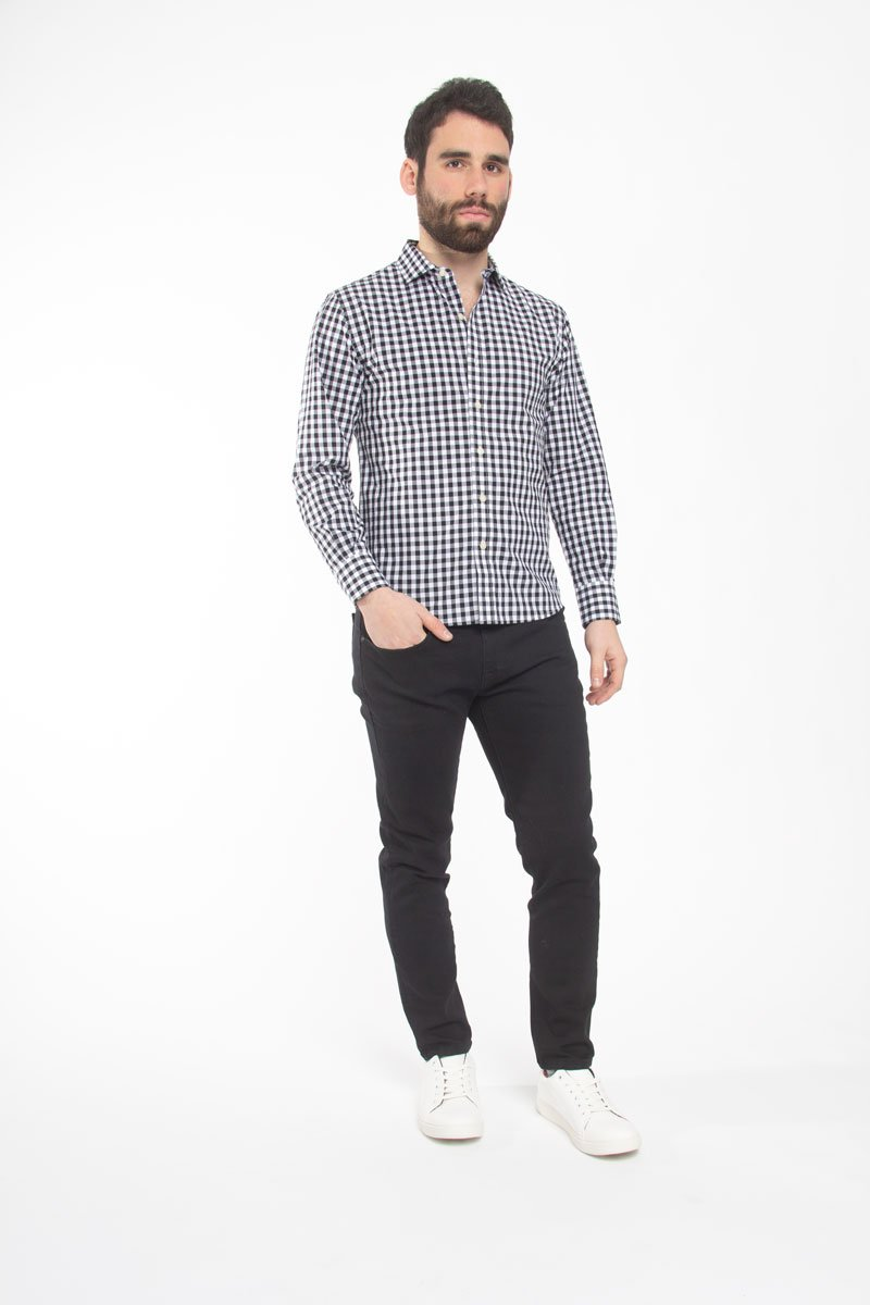 Button Down Shirt Black Check Casual Shirt Under 5'10