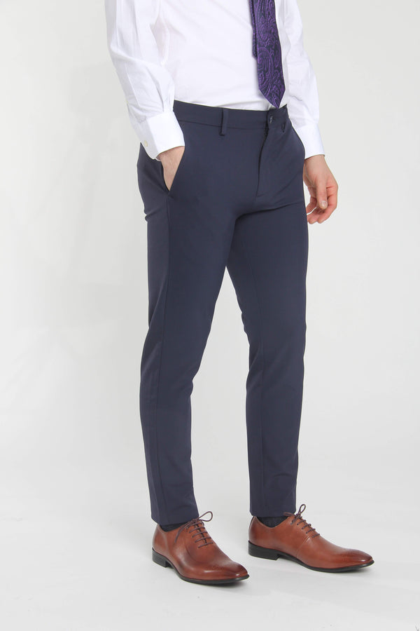 Jon Slim Tapered Fit Performance Dress Pant Blue Dress Pants Under 5'10