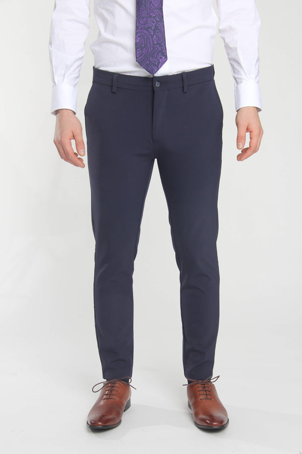 Jon Slim Tapered Fit Performance Dress Pant Blue Dress Pants Under 5'10 26 X 26