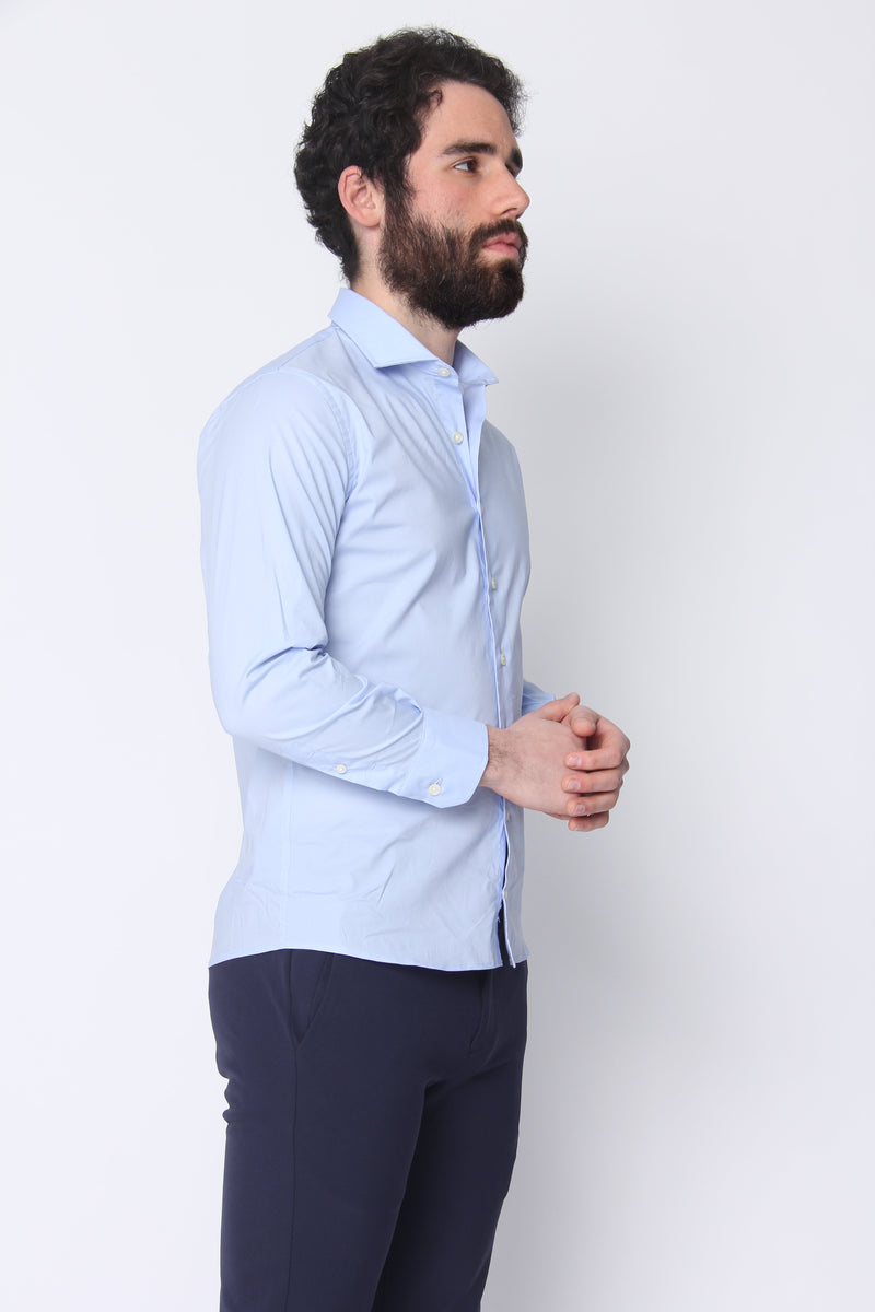 Button Down Dress Shirt Blue Stretch Poplin Button Down Shirt Under 5'10