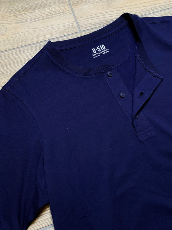 Henley Blue Short Sleeve Shirt Henley Under 5'10
