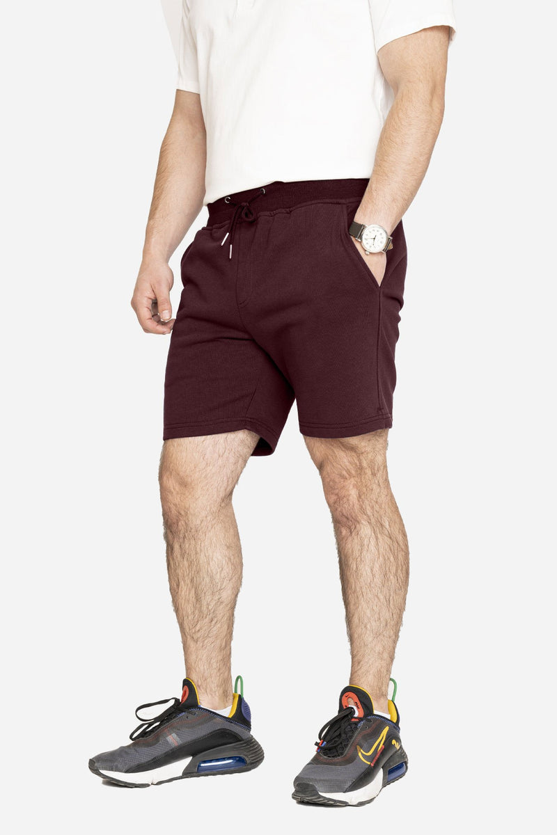 French Terry Jogger Shorts Burgundy Shorts Velland
