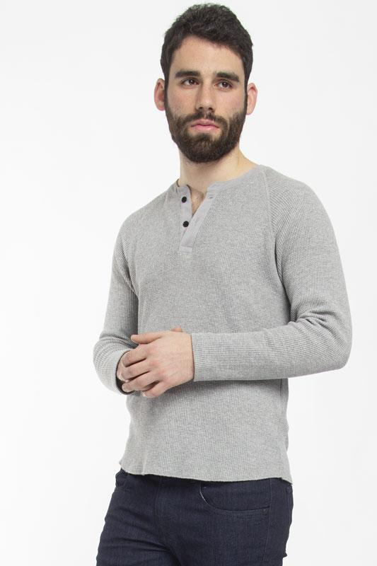 Henley Gray Waffle Long Sleeve Shirt T-Shirt Under 5'10