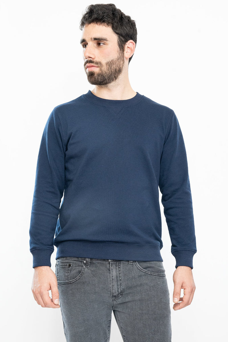 French Terry Crew Sweatshirt Navy Blue Sweatshirt Under 5'10