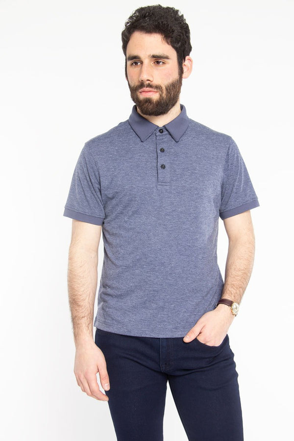 Ultra Soft Polo Blue Melange Polos Under 5'10 XS