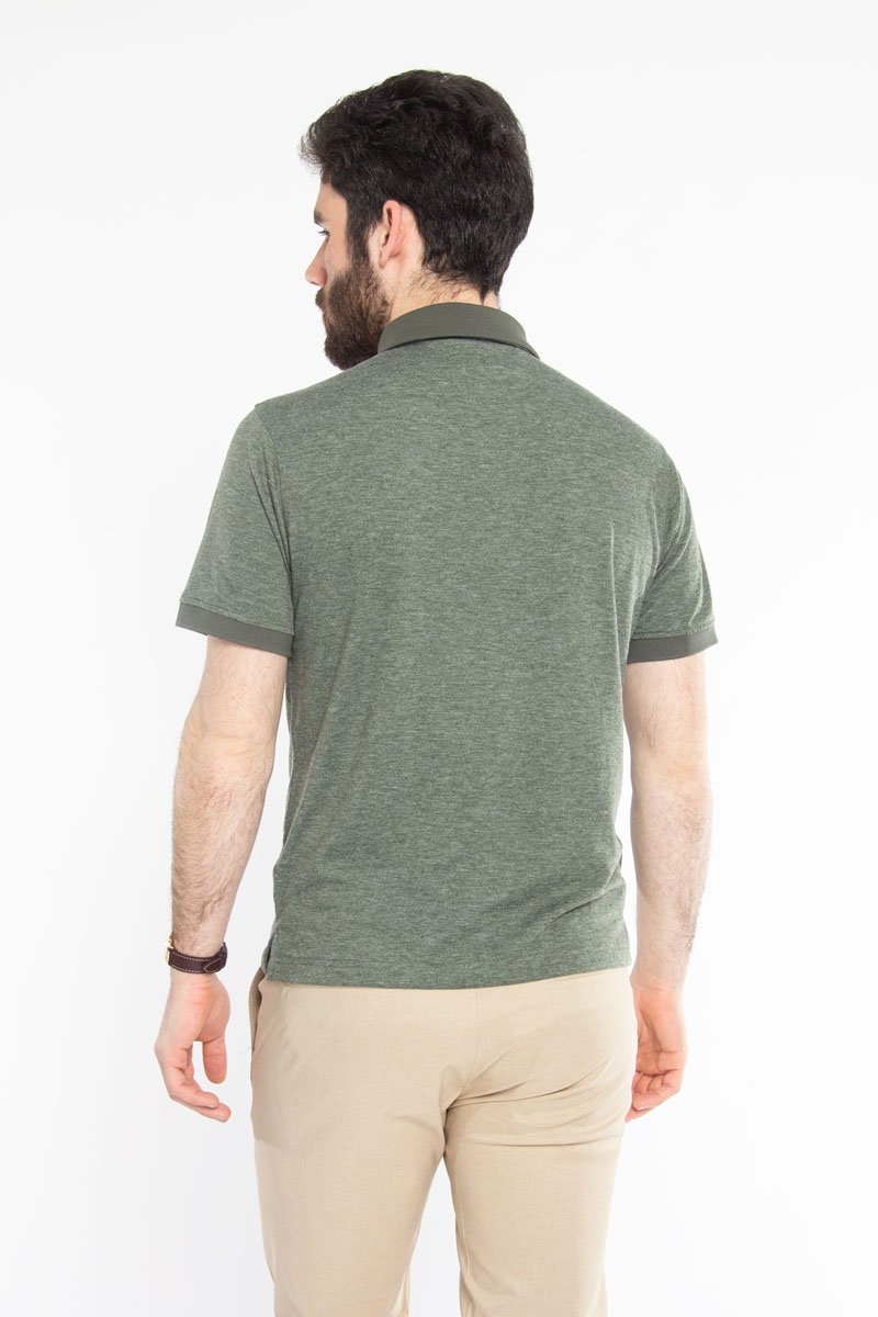 Ultra Soft Polo Green Melange Polos Under 5'10