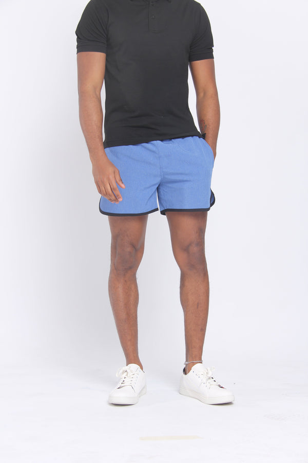 The Anything Board Short Blue Melange Shorts Under 5'10