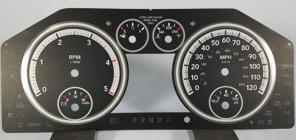 Dodge Ram 1500 & 2500 Diesel MPH Conversion Gauge Face for 2011-2012