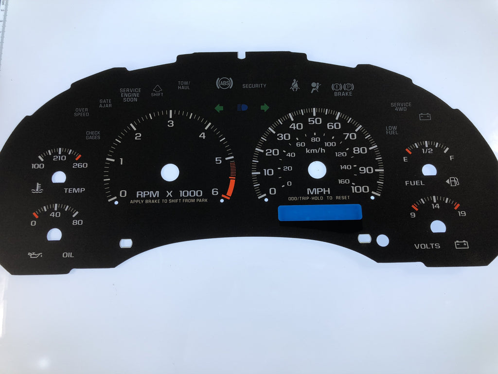 1999-2002 Chevy Blazer MPH Conversion Gauge Face With 1 Digital Display Window