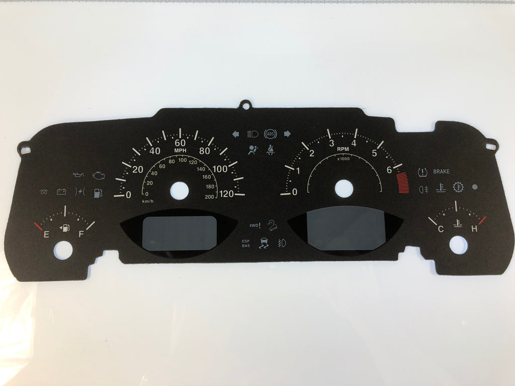 2014-2016 Jeep Patriot MPH Conversion Gauge Face With Dual Window Message Centers