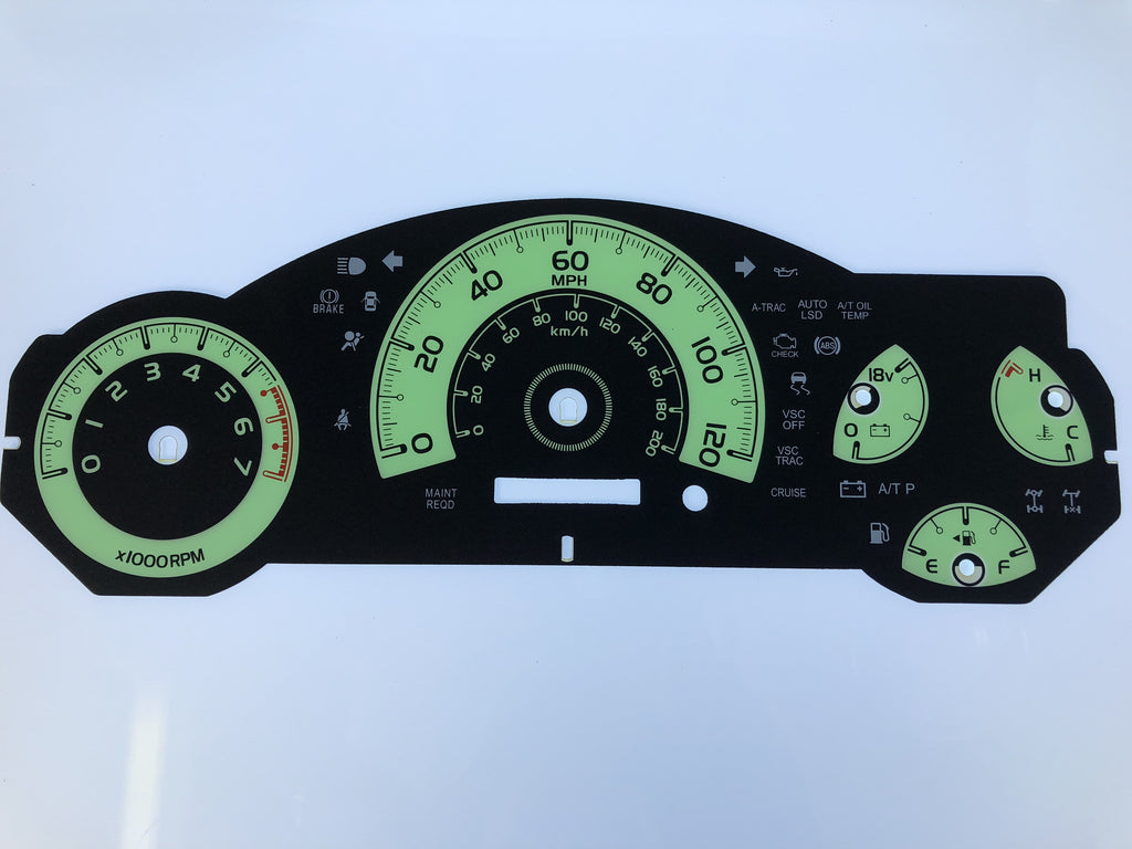 2007-2010 Toyota FJ MPH Conversion Gauge Face (Manual)