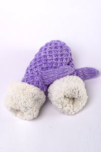 Purple knit fur-lined mittens by Just Cozy.