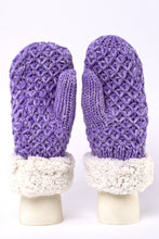Load image into Gallery viewer, Purple knit fur-lined mittens by Just Cozy.