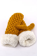 Load image into Gallery viewer, Mustard Yellow knit fur-lined mittens by Just Cozy.