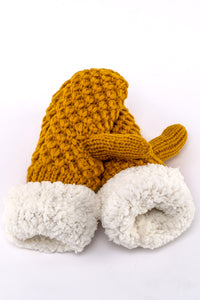 Mustard Yellow knit fur-lined mittens by Just Cozy.