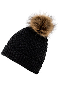 Black knit hat by Just Cozy.