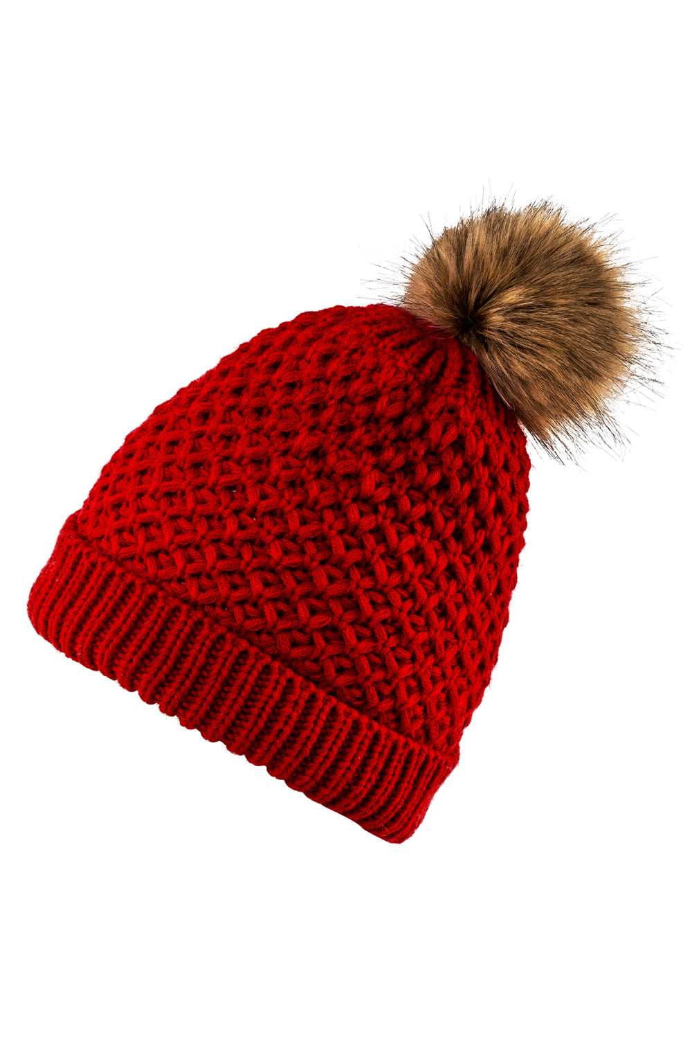 Red knit hat by Just Cozy.