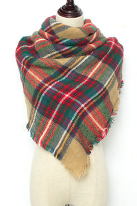Green, Red, and Brown Plaid Blanket Scarf by Just Cozy.