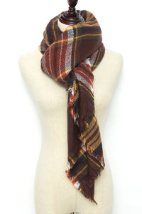 Red, Yellow, and Black Plaid Blanket Scarf by Just Cozy.