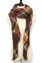 Load image into Gallery viewer, Red, Yellow, and Black Plaid Blanket Scarf by Just Cozy.