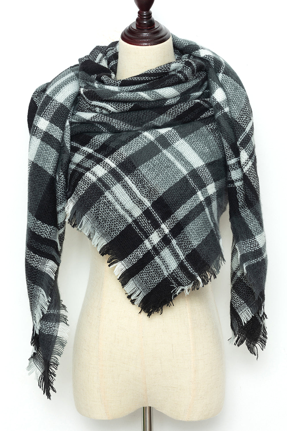 Black and White Plaid Blanket Scarf by Just Cozy.