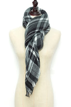 Load image into Gallery viewer, Black and White Plaid Blanket Scarf by Just Cozy.