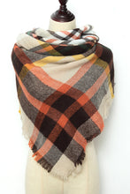 Load image into Gallery viewer, Orange, Black and Beige Plaid Blanket Scarf by Just Cozy.