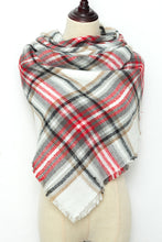 Load image into Gallery viewer, Dark Green, Red and White Plaid Blanket Scarf by Just Cozy.