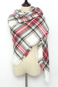 Dark Green, Red and White Plaid Blanket Scarf by Just Cozy.
