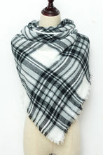 Load image into Gallery viewer, Grey, Black and White Plaid Blanket Scarf by Just Cozy.