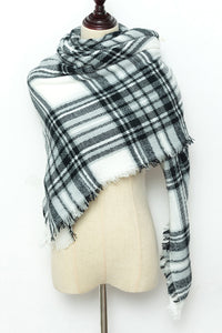 Grey, Black and White Plaid Blanket Scarf by Just Cozy.