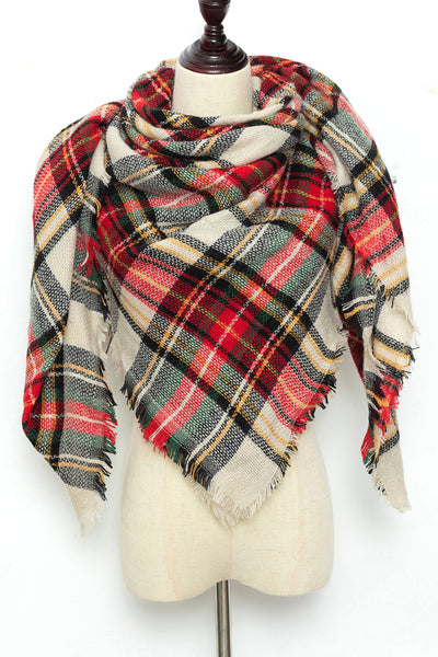 Red, Black, and Yellow Plaid Blanket Scarf by Just Cozy.