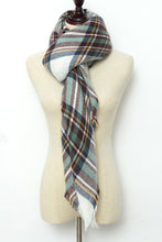 Load image into Gallery viewer, Green, White and Brown Plaid Blanket Scarf by Just Cozy.