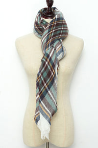Green, White and Brown Plaid Blanket Scarf by Just Cozy.
