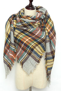 Green, Yellow, Red and Brown Plaid Blanket Scarf by Just Cozy.