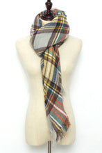 Load image into Gallery viewer, Green, Yellow, Red and Brown Plaid Blanket Scarf by Just Cozy.