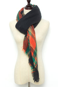 Orange, Green, and Black Plaid Blanket Scarf by Just Cozy.