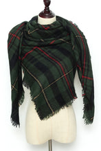 Load image into Gallery viewer, Green Plaid Blanket Scarf by Just Cozy.