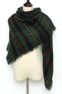 Green Plaid Blanket Scarf by Just Cozy.