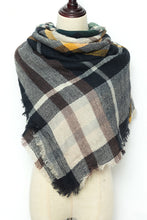 Load image into Gallery viewer, Beige, Black, and Maroon Plaid Blanket Scarf by Just Cozy.