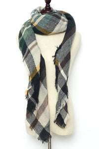 Beige, Black, and Maroon Plaid Blanket Scarf by Just Cozy.
